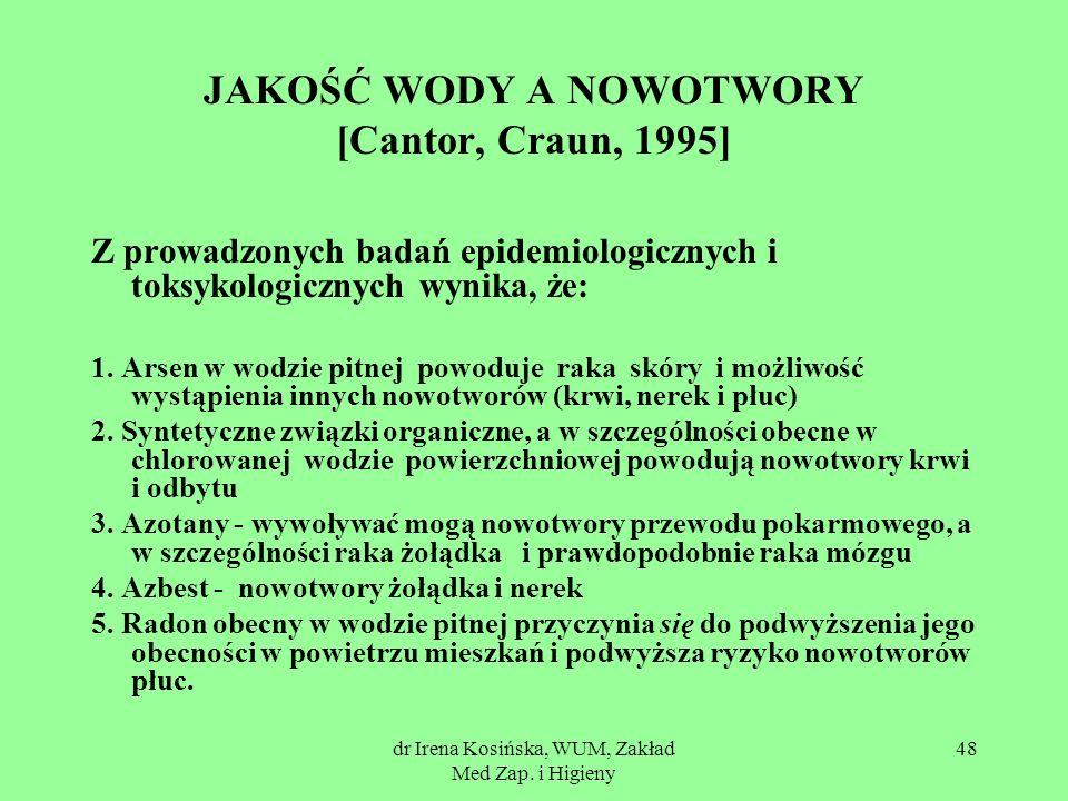 JAKOŚĆ WODY A NOWOTWORY [Cantor, Craun, 1995]